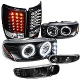 05 denali halo headlights - GMC Yukon Denali Black Halo Projector Headlights+Bumper Lamps+LED Tail Lights