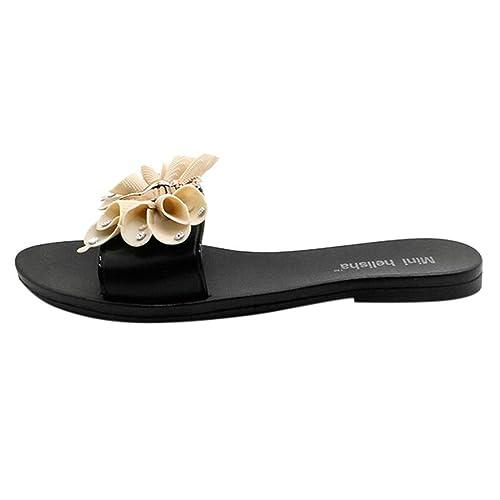 Internet_Sandalias y Zapatillas de Playa para Mujer, Lazo de Plano con pedrería y Zapatillas de