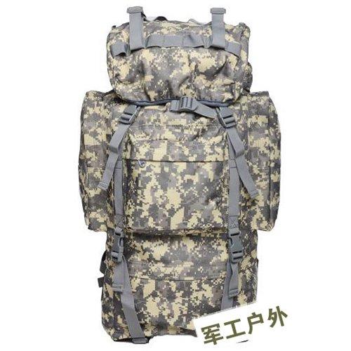 JWBB große Kapazität doppelt Schulter Reisetasche, männliche Tasche militärischen Fans, Bergsteigen, Angeln, Camping Taschen Taschen, Taschen, Taschen, 65 L Silber ACU Farbe