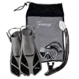 Seavenger Diving Dry Top Snorkel Set with Trek Fin, Single Lens Mask and Gear Bag, S/M - Size 4.5 to 8.5, Gray/Black Silicon