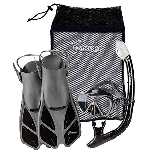 Seavenger Diving Set with Silicone Mask, Trek Fins / Flippers, Dry Top Snorkel and...