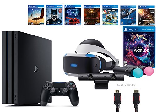 PlayStation VR Launch Bundle 9 Items:VR Launch Bundle,PlayStation 4 Pro 1TB,7 VR Game Disc Rush of Blood,Valkyrie,Battlezone,Batman: Arkham VR,DriveClub,Combat League,Eagle Flight