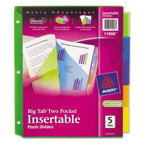 Avery Plastic Divider (Avery 11906 Insertable Big Tab Plastic Dividers w/Double Pockets, 5-Tab, 11 x 9)