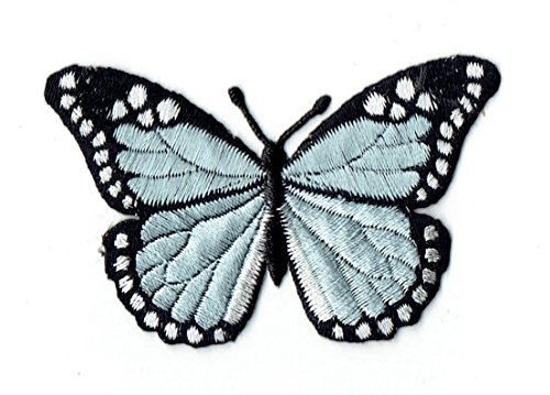 Light Blue and Black Monarch Butterfly Iron on Embroidered Patch