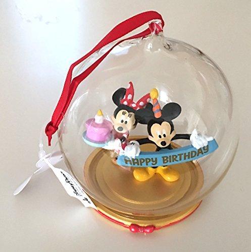 Disney Parks Mickey Minnie Mouse Birthday Figurine Dome Ornament