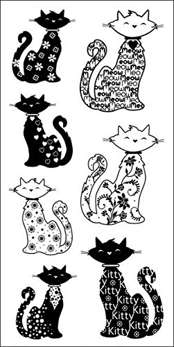 Inkadinkado Patterned Cats Clear Stamps