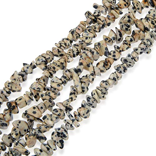 - Top Quality Natural Dalmatian Jasper Gemstone Smooth Gem Chips 5-8mm Loose Stone Beads 34 Inch for Jewelry Craft Making GZ1-3