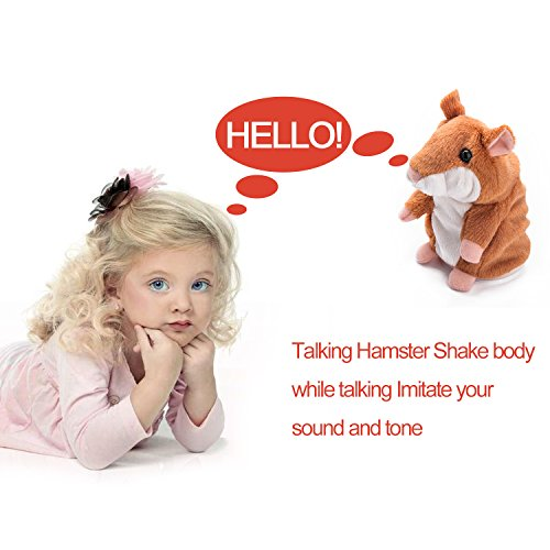 Talking Hamster Plush Toy,Funny Mimicry Pet Plush Animal Interactive Toy Repeats What You Say, Electronic Pet Chatimals Mouse Buddy Birthday Christmas Gifts for Kids(Brown) - Happy Hours