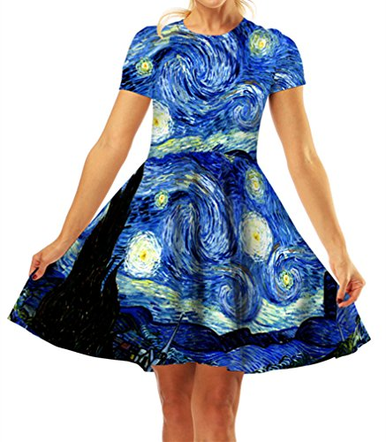 GLUDEAR Women's 3D Print Short Sleeve Unique Casual Flared Midi Dress,Van Gogh,L/XL -