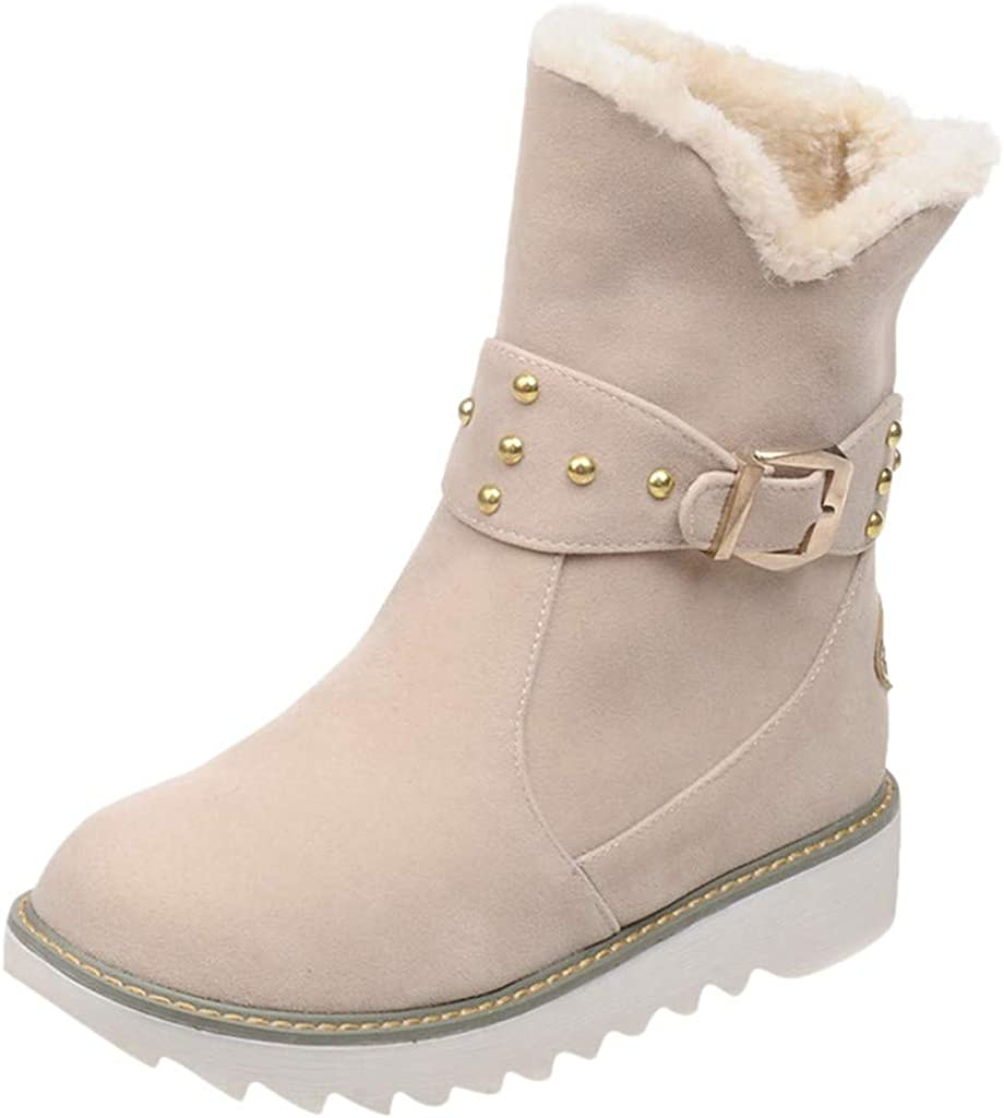 Womens Winter Mid Calf Snow Bootie Buckle Strap Round Toe Boots Warm Faux Lining Shoes