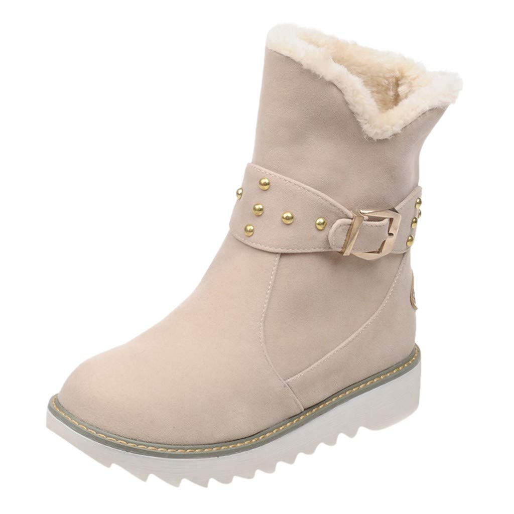 Fheaven Women's Winter Warm Boots Round Toe Snow Rivet Buckle Straps Ankle Fur Lined Boots Casual Booties by Fheaven-shoes