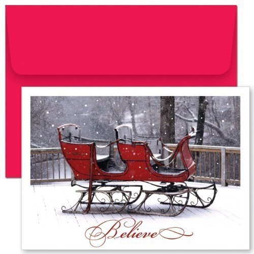 (Believe Sleigh Boxed Holiday Cards by Hollyville Collectiion)