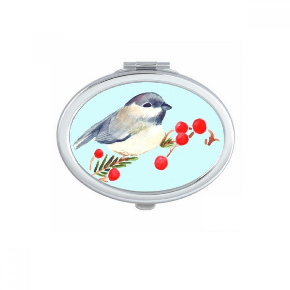 DIYthinker Bird Animal Magpie Grayhead Oval Compact Makeup Mirror Portable Cute Hand Pocket Mirrors Gift