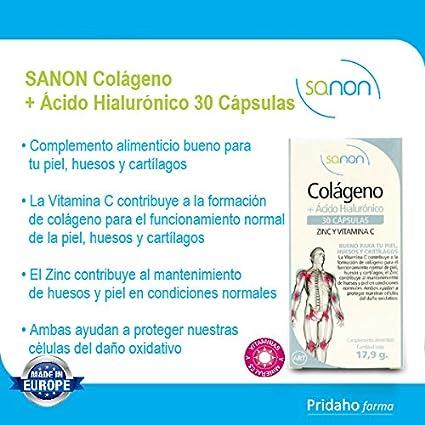 SANON - SANON Colágeno + Ácido Hialurónico 30 cápsulas de 595 mg: Amazon.es: Salud y cuidado personal