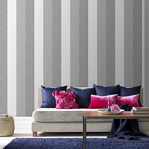 Graham & Brown 20-544 1 Fabric Collection Java Stripe Wallpaper, Grey