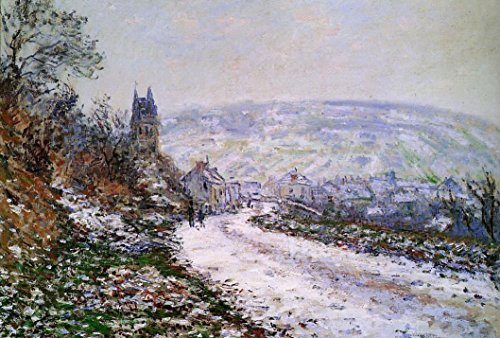100% Hand Painted Entering the Village of Vetheuil in Winter Canvas Oil Painting for Home Wall