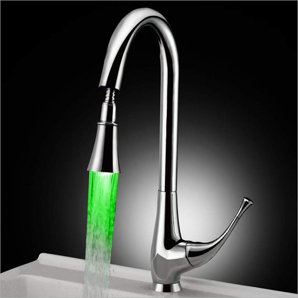 Pull Out LED Temperature Color Changing Kitchen Tap Hydroelectric Power Mixer Faucet Cold and Hot Single Handle Swivel Spout Sink Chrome