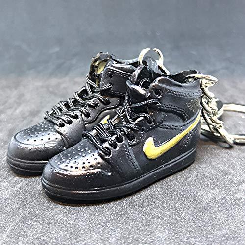 Pair Air Jordan I 1 Retro Black Gold BHM Black History Month OG Sneakers Shoes 3D Keychain Figure 1:6 (Jordan Retro 1 Og Black And Gold)