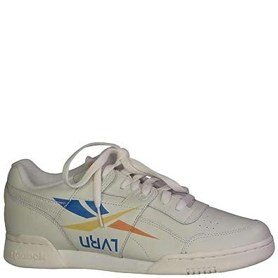 Reebok Men s Workout Plus 3AM ATL Fashion Sneakers Lvrn  Chalk Blue Yellow Orange cc8d207123a