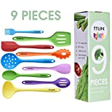 TTLIFE Silicone Utensils Kitchen Colorful 9 Pieces With Turner, Spatula, Soup Ladle,Brush,Long Handle Shovel,Long Spoon,Slotted Spoon,Shovel Spoon,Colander for Cooking/Baking/BBQ