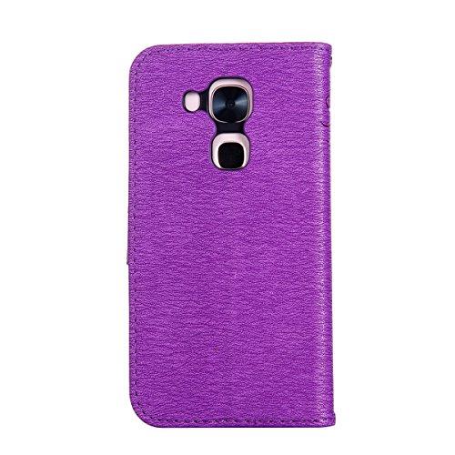 Funda Huawei Nova Plus, Carcasa Huawei Nova Plus, Funda de brillo Huawei Nova Plus, Lifetrut Sólido Shiny Sparkle Libro de Estilo de Cuero con Ranura para Tarjetas de Cierre Magnético Soporte Funda de E205-Púrpura