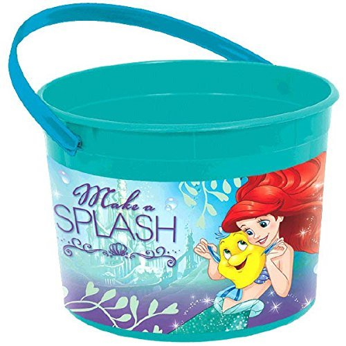 Disney Ariel Favor Bucket (Amscan Disney's Ariel Plastic Party Favor Container, Blue/Pink, 4 1/2