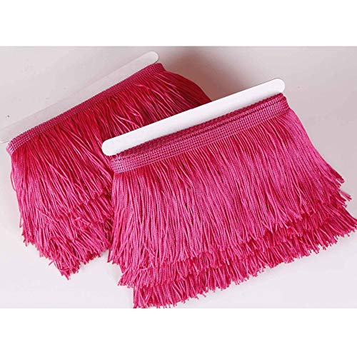 Heartwish268 Fringe Trim Lace Polyerter Fibre Tassel 4inch Wide 10 Yards Long for Clothes Accessories Latin Wedding Dress DIY Lamp Shade Decoration Black (Rose ()