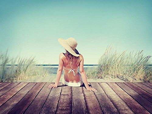 Wallmonkeys Woman Wearing Bikini in a Summer Vacation Peel and Stick Wall Decals WM362408 (24 in W x 18 in H)