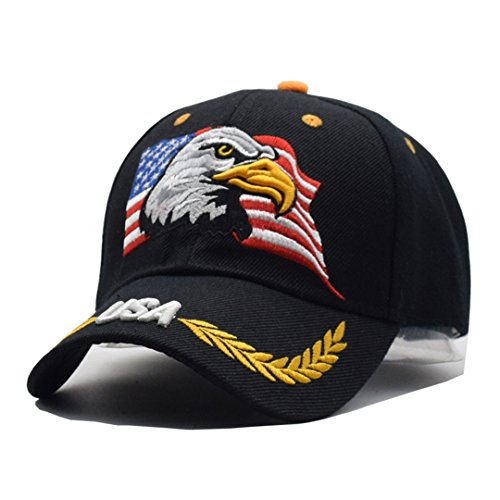 SUENHAT Black Cap Usa Flag Eagle Embroidery Baseball Cap Snapback Caps Casquette Hats Fitted Casual 4 Adjustable (Embroidery Flag Eagle)