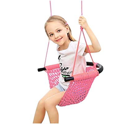 LLYWEY Kids Swing Seat Heavy Duty Rope Play Secure Children Swing Set for Indoor/Outdoor/Playground/Home/Tree with Snap Hooks and Swing Straps|Suit for 2 to 12 Years (Pink): Toys & Games