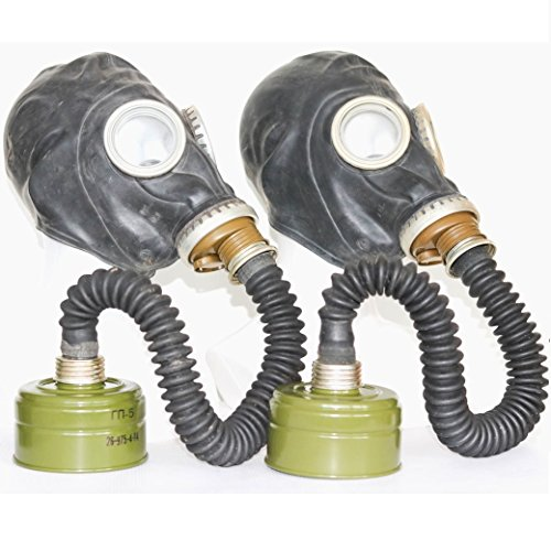 Set of 2 WW2 Gas Masks GP-5 with filters & hoses black Soviet Russian NEW...