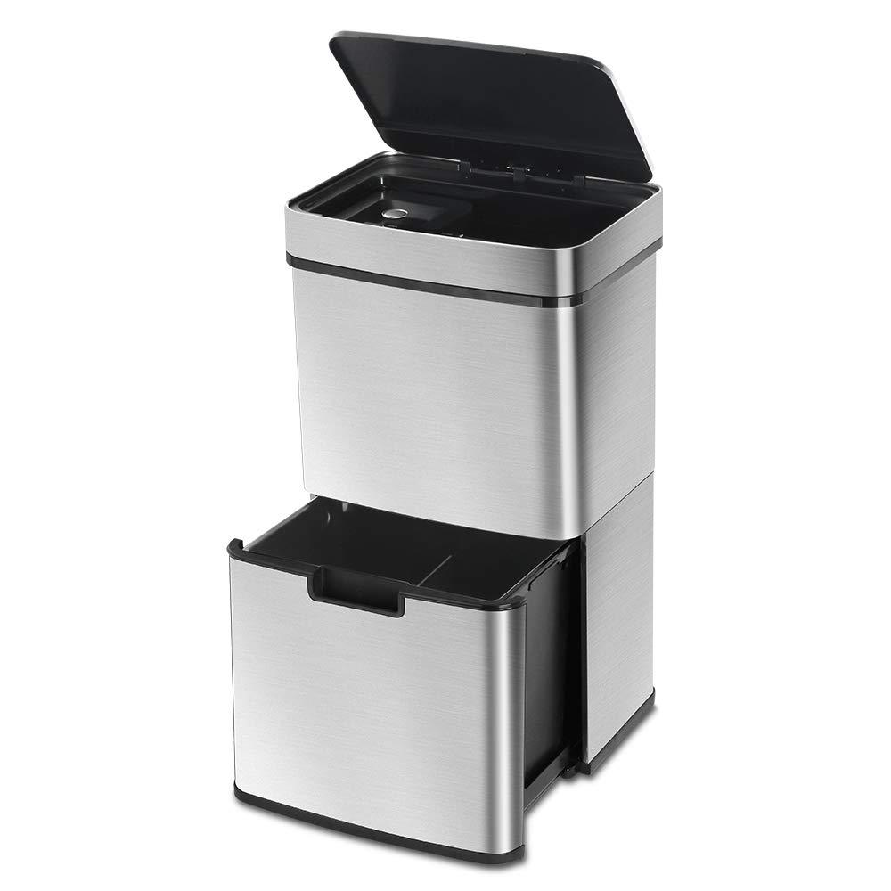 LENTIA Poubelle /à capteur de Recyclage avec Finition en Acier Inoxydable 65 l 42 x 31,5 x 74,5 cm