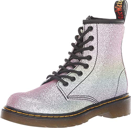 Dr. Martens Kid's Collection Girl's 1460 Patent Glitter Junior Delaney Boot (Little Kid/Big Kid) Rainbow Glitter 2 M UK M ()
