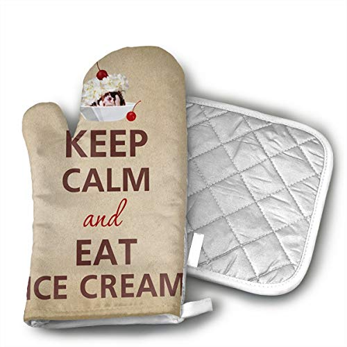 Cherry Fresh Oven Mitt - UFKEOJ Keep Calm Eat Ice Cream Sundae Cherry Oven Mitts,BBQ Microwave Baking Protective Glove Hot Pot Heatproof Mat Set,Cotton, Machine Washable