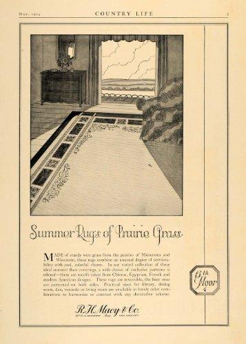 1924 Ad R.H. Macy Wisconsin Minnesota Prairie Grass Rug - Original Print - 34th Macy's Street