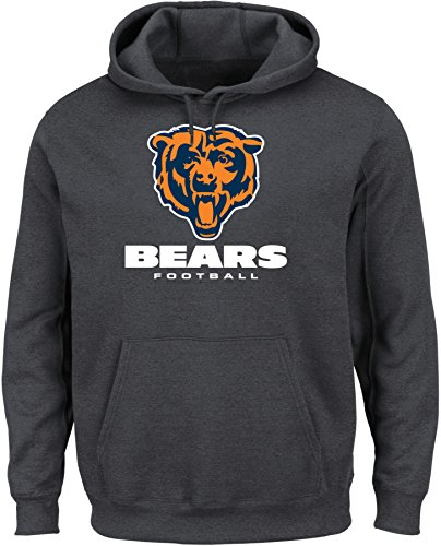 VF LSG NFL Chicago Bears Men's Our Team Long Sleeve Screen Print Hooded Fleece Pullover, Small, Charcoal Heather by VF LSG