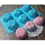 Pieces 6 Cavity Silicone Flower Soap Mold Chrysanthemum Sunflower Mixed Flower shapesCupcake Backing mold Muffin pan Handmade soap silicone Moulds 11 Dimensions:28*16.5*3CM Cavity Size:7.5*3cmNon-stick&Flexible: Pop out easily with smooth surface. Temperature Safe from -104 to +446 degrees Fahrenheit (-40 to +230 degrees Celsius) Safe use in Microwave, Oven, Refrigerator, Freezer and Dishwasher . 3 Different 3D Flower Pattern- can be used to make cupcakes, muffins, mini cakes, cake pops, cookies, lollipops, chocolates, breads, mini quiches and potpies, pudding and more! You can even use them as a tray to make uniquely shaped soap or ice.