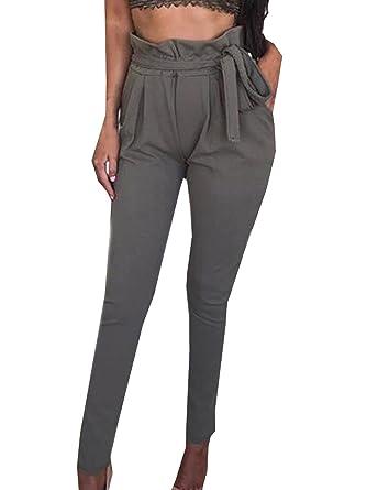 YUPOLB Damen Elegant High Waist Chiffon Stretch Pants Skinny Hosen Casual  Streetwear einfarbig Lange Hose mit Tunnelzug  Amazon.de  Bekleidung a09789d05e
