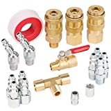 Hromee 18 Pieces Air Coupler and Plug Kit, 1/4-Inch NPT Air Hose Fittings with Universal Quick Coupler, Brass Ball Valve, Swivel Air Plug and Tee Pipe Fitting - Air Compressor Accessories Kit