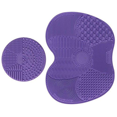 (Makeup Brush Cleaning Mat Set-ESARORA Makeup Brush Cleaner Pad Set of 2 Cosmetic Brush Cleaning Mat Portable Washing Tool Scrubber Suction Cup (purple))