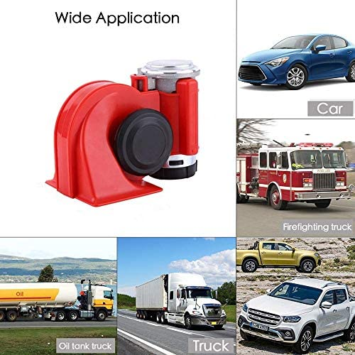 Red SoundOriginal 12Volt Loud Car Air Horn Big Truck Horn 125db with Automotive Relay Electric Horn for Truck Car Motorcycle
