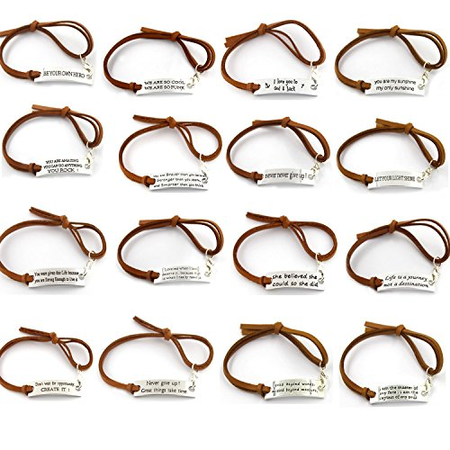 YOYONY 10 PCS PACK ! Random Inspirational Message Adjustable Leather Bracelets,Motivational Quotes BangleCuff Bracelets,Minimalist BFF Gifts,Giveaways for adults/Kids/teens. (brown leather)