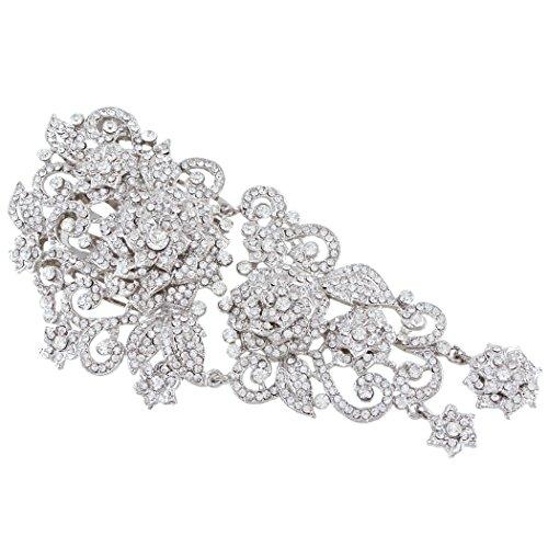 (EVER FAITH 5.9 Inch Wedding Silver-Tone Flower Clear Austrian Crystal Hair Comb)