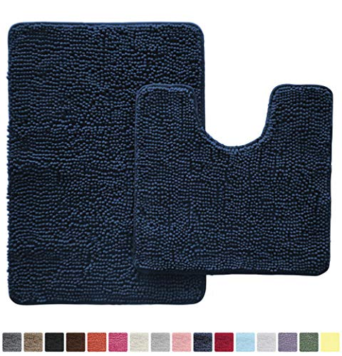 Gorilla Grip Original Shaggy Chenille 2 Piece Bath Rug Set Includes Oval U-Shape Contoured Mat for Toilet and 30×20 Carpet Rugs, Machine Wash Dry, Plush Mats for Tub, Shower and Bathroom, Navy Blue