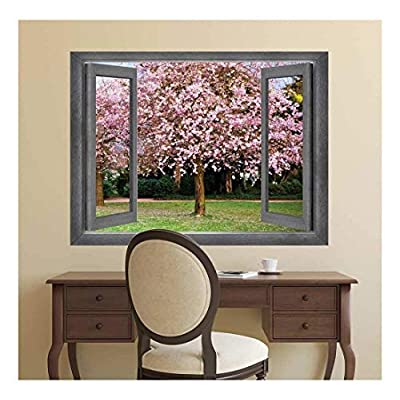 Open Window Creative Wall Decor Center Focus onto a Gorgeous Cherry Blossom Tree Wall Mural, Professional Creation, Fascinating Picture