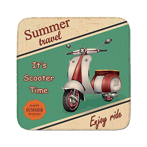 Cozy Seat Protector Pads Cushion Area Rug,Vintage Decor,Scooter Motorbike Summer Travel Italian City Sight Hipster Enjoy Ride Illustration,Multi,Easy to Use on Any Surface