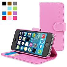 iPhone 5/5S Case, Snugg - Candy Pink Leather iPhone 5/5S Flip Case [Lifetime Guarantee] Premium Wallet Phone Cover with Card Slots for Apple iPhone 5/5S