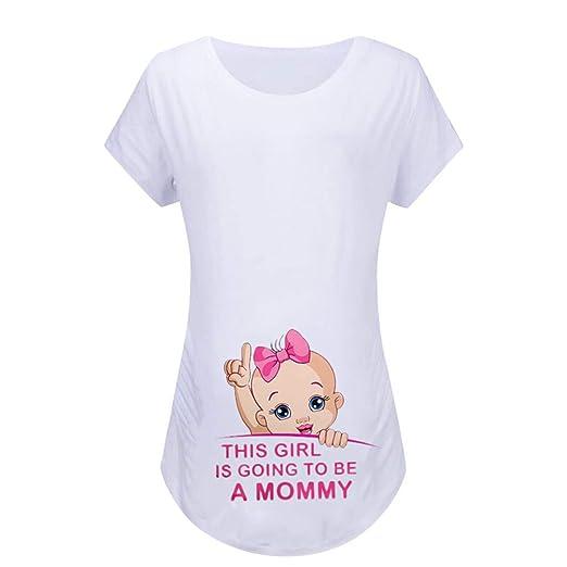 Women Maternity Shirt Short Sleeve Cartoon Print Tops Loose Pregnancy Clothes