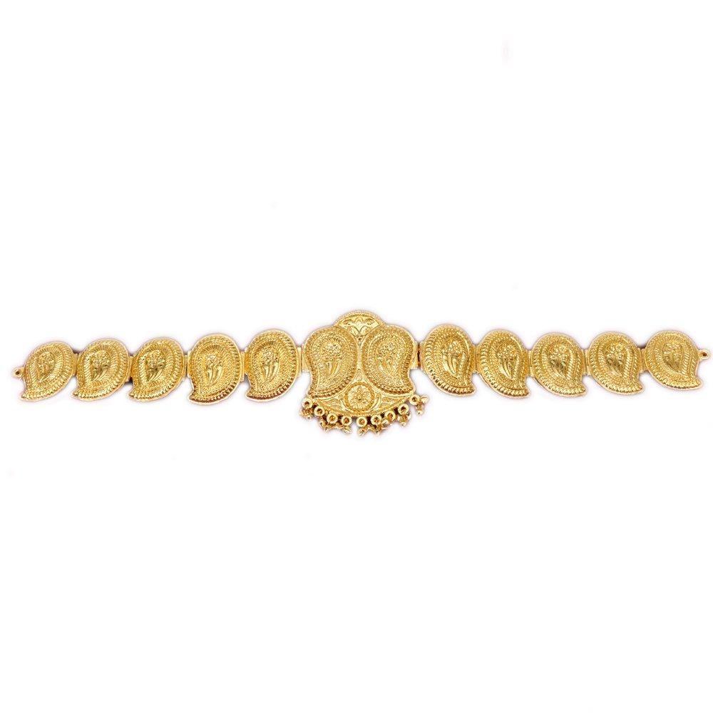 Fashionatelier Bharatantyam Mango plain gold waist belt
