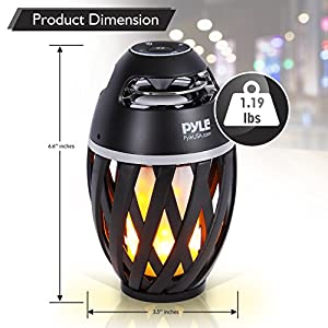 Pyle Portable Bluetooth Speaker with Candle Style LED Lamp Night Light - Marine Grade Waterproof and Splash Proof Wireless Stereo Boombox for Apple iPhone, Samsung Galaxy and Other Devices(PLEDFSP18)